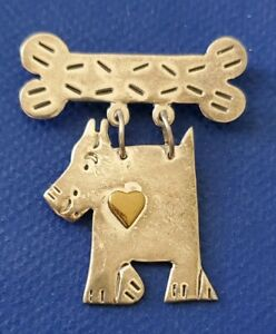 Fun Mexican Sterling Dog And Bone Pin $26.00