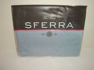 Sferra Fiona 3200 Full Queen Flat Sheet Dusty Blue Eqyptian Cotton Sateen