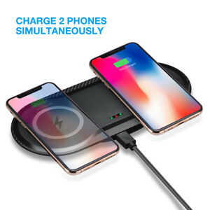 Qi Wireless Dual Charger Phone Fast Charging Mat Dock For Samsung S10/S9 iPhone