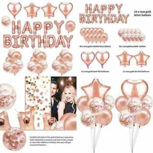 47Pcs Happy Birthday Decorations ROSE GOLD Party Supplies Banner Balloons Set W