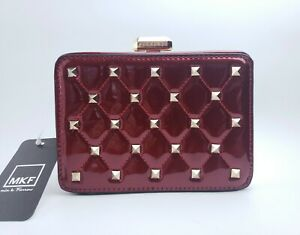 MKF Mia Le Farrow Collection Quilted Box Clutch With Studs Crossbody Bag NWT $26.99