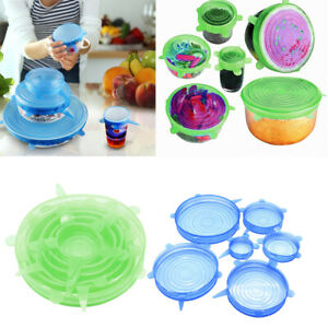 2 Set Kitchen Silicone Stretchable Round Lids Bowl Covers Food Storage