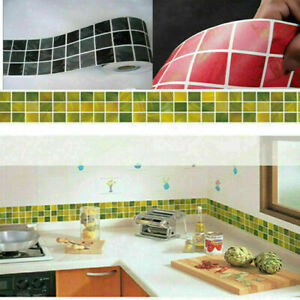 Self Adhesive Mosaic Wall Stickers Tile Floor Kitchen Bathroom Waterproof Decal