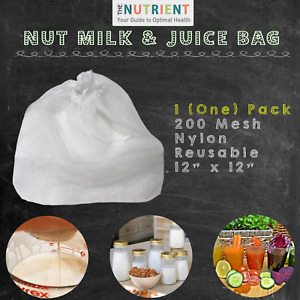 Nut Milk Bag -  1 (One) 12x12 Premium Commercial Grade Quality Reusable