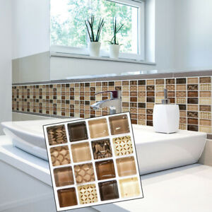 18pcs 3D Self Adhesive Mosaic Tile Sticker Kitchen Bathroom Wall Stickers Decor