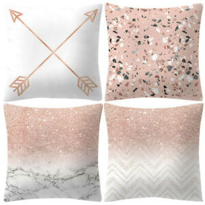 18x18in Square Pillowcase Rose Gold Pink Cushion Pillow Cover Home Decoration