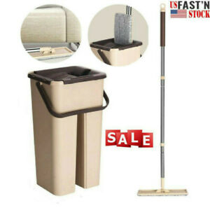 US Self Cleaning Drying Wringing Mop Bucket System Flat Floor Free Hand Wash