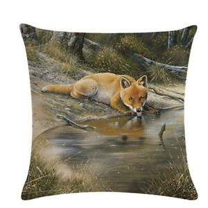 Cushion Cover Waist Cover Decoration Forest Animal Linen Pillow Case SL