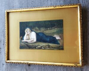 Antique 19th Century Hand Painted Stone Lithograph Reclining Female Nude $275.00