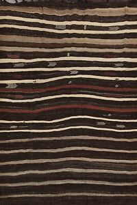 Excellent Striped Vegetable Dye Turkish Kilim Flat-Woven Wool Area Rug 7x10 ft