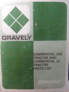 Gravely Walk Behind Commercial 10A & 12 Lawn Garden Tractor Parts Manual
