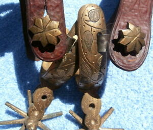 Old Heavy Brass Horse Spurs Leaf Pattern with Tooled Leather Straps