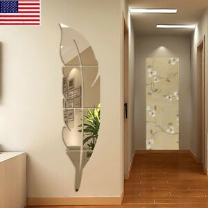 3D DIY Removable Feather Mirror Home Room Decal Vinyl Art Stickers Wall Decor $6.99