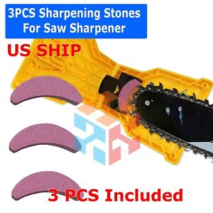 US 3Pcs Woodworking Chainsaw Teeth Chain Saw Sharpener Sharpening Stone Grinding $6.99