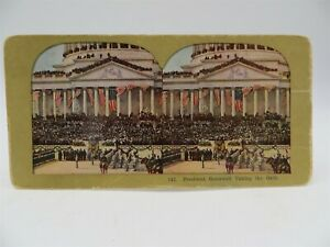 Vintage Stereo View Stereoscope Card President Roosevelt Taking the Oath $6.95