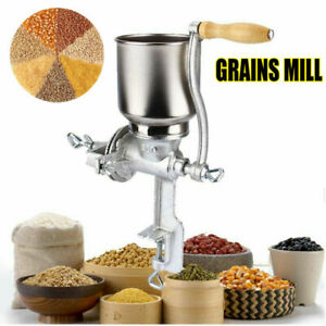 Tall Cast Iron Grinder Grain Mill Hand Crank Manual Corn Wheat Coffee Flour Nut