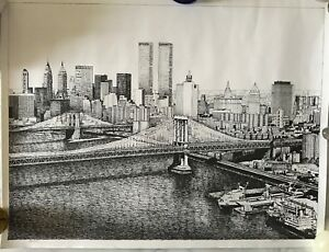 Stella Roosevelt Limited Edition Lithograph Black and White N.Y.C. Skyline $79.99
