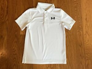 Under Armour Boys White Golf Shirt Youth Medium Loose Fit Heat Gear with spot $3.10