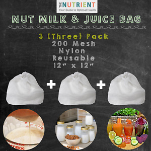 3 (three) Nut Milk Bag Commercial Grade Reusable Strainer Mesh Nylon Cheesecloth