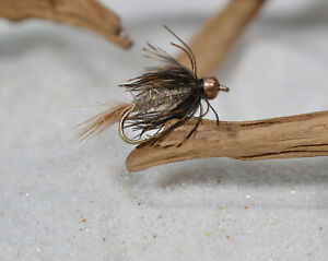 12 Flies BH Hares Ear Nymph Wet Fly Soft Hackle Fly Fishing on Mustad Hooks
