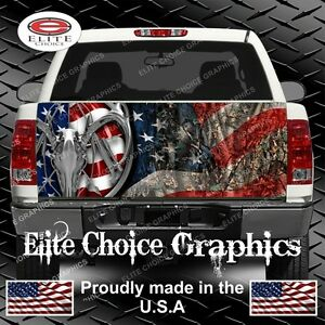 American Deer Hunter Flag Camo Truck Tailgate Wrap Vinyl Graphic Decal Wrap