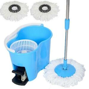 Felji Microfiber Spin Mop Easy Floor Mop with Bucket and 2 Heads