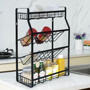 4 Tier Spice Rack Kitchen Bathroom Standing Storage Organizer Stainless Steel US