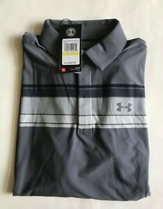 $70 NWT Mens Under Armour Playoff Long Sleeve Wicking Polo Shirt Gray 1285067 M $36.95
