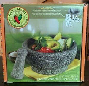 NEW 8-1/2 inch Natural Stone Mortar and Pestle/Molcajete by Casa Maria