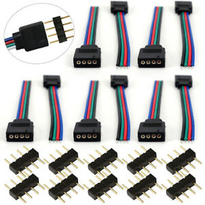 10Pcs 4 Pins Female Male Connector Cable for RGB 3528 5050 LED Strip Light US