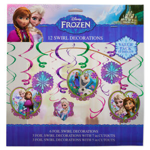 FROZEN HANGING SWIRL DECORATIONS (12pc)~ Birthday Party Supplies Foil Cutouts