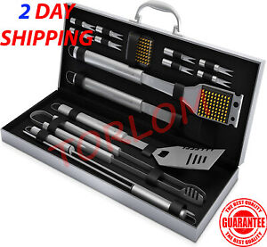 BBQ Grill Tool Set 16 Piece Stainless Steel Barbecue Grilling Accessories