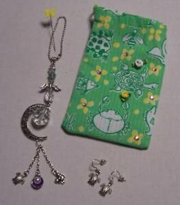 CRYSTAL SUNCATCHER HANGING CHARM*CRAB TURTLE*EARRINGS*LILLY PULITZER FABRIC BAG
