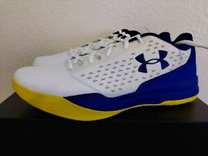 Under Armour UA JET LOW Basketball Shoes White Blue Yellow Size 10.5 Men $59.97