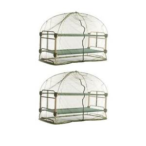 Disc O Bed Mosquito Net and Frame for Bunkable Camping Cots Green 2 Pack