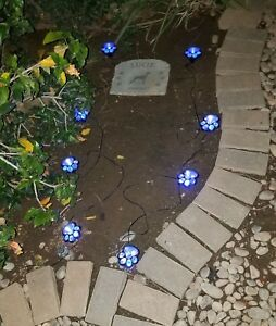 Set of 8 Solar Powered Paw Prints Outdoor Garden Walkway Path LED Lights - Color