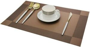 Set of 6 Brown PVC Non Slip Dining Table Washable Place Mats  12x18 Inches