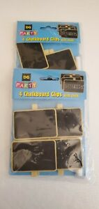 Mini Wooden Chalkboard Clips Two Packages of 4 with chalk