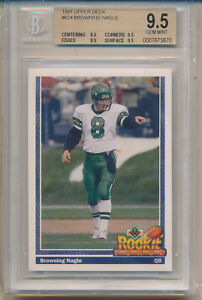 1991 Upper Deck Football Browning Nagle RC All 9.5 Subs #596 BGS9.5 BGS $39.97