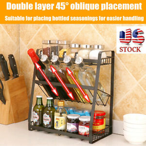 US 3 Layer Kitchen Spice Rack Stainless Steel Countertop Spice Jars Bottle Shelf
