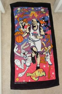 Vtg 90's Space Jam Beach Towel Michael Jordan Looney Tunes Warner Bros.