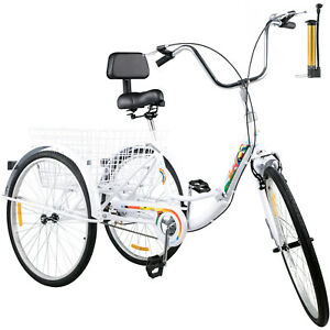 Foldable Adult Tricycle 26#x27;#x27; Folding Tricycle 1 Speed 3 Wheel Bikes For Adults