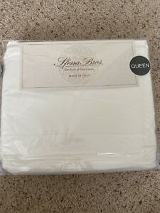 Sferra * 100% LONG STAPLE COTTON * White Queen Crisp Percale 4PC Sheet Set Italy