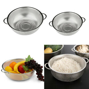 2pcs Strainer Food Sieve Fruit Washing Bowl Noodles Drainer Basket Kitchen