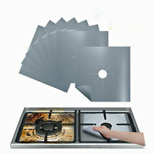 8 Silver Gas Range Stove Top Burner Protectors Reusable Liners Non-stick Covers