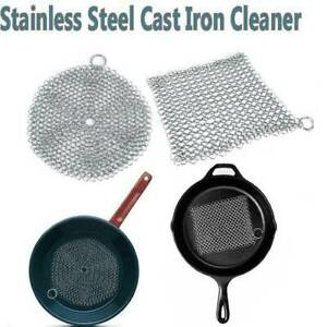 Stainless Steel Cast Iron Cleaner Chain Mail Scrubber Kitchen Cookware Tool T9S9