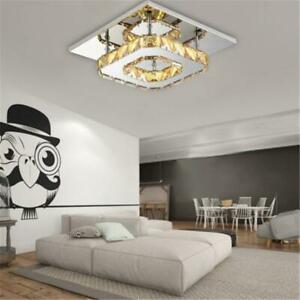 LED Amber Crystal Ceiling Light Square Modern Chandeliers Aisle Living Room Lamp