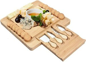 New Bamboo Cheese Board and 4 Knife Set by Opulic - Indoor or Outdoor Use