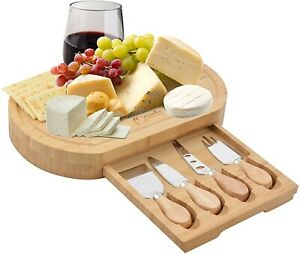 New Oval Bamboo Cheese Board and 4 Knife Set by Opulic - Indoor or Outdoor Use