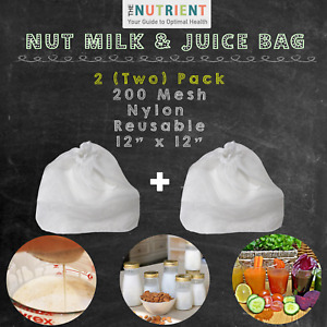 "2X (two) PREMIUM Nut Milk Bag - Extra Fine Nylon Mesh Almond Milk XL12""x12"""